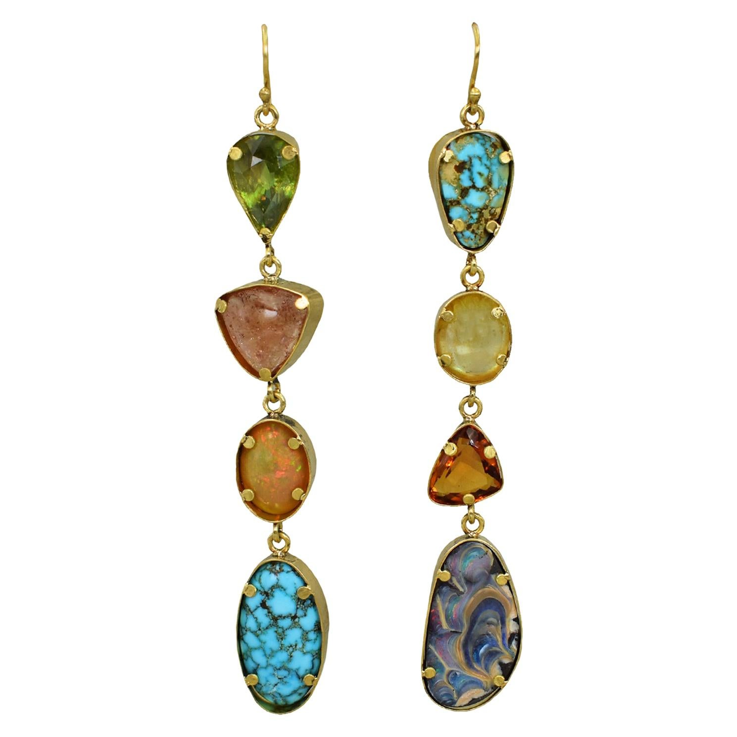Tourmaline, Turquoise, Opal and Citrine Multi-Gemstone 22k Gold Dangle Earrings