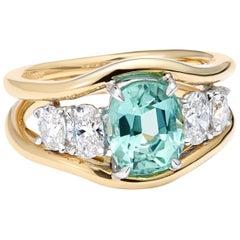 Tourmaline White Diamond 18 Karat Yellow Gold Engagement Cocktail Ring