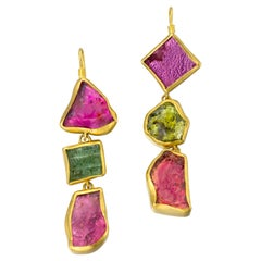 Tourmaline Yellow Gold 22 Karat Gold Dangle Earrings