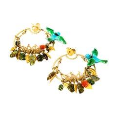 Tourmalines Fire Opals Pearl 18 Karat Yellow Gold Hoop Earring