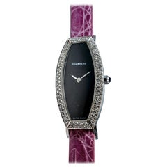 Tourneru 18 Karat White Gold Diamond and Mother of Pearl Watch with Gator Strap