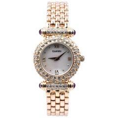 Tourneau 14 Karat Yellow Gold Ladies Diamond Watch