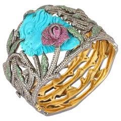 Tourquoise Carved Medusa Bangle Bracelet Diamonds, Rubies, Tsavorites