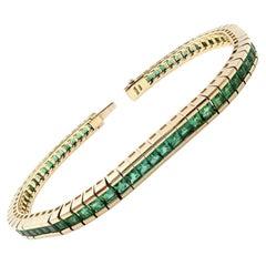 Tous Channel Set Princess Cut Emerald Tennis Bracelet