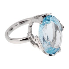Tous in 21 Carat Blue Topaz White Gold Cocktail Ring