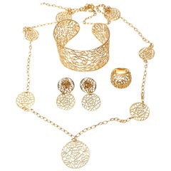Tous Matching Cuff Bracelet Necklace Ring Earrings Yellow Gold Jewelry Suite