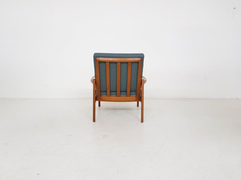 Norwegian Tove and Edvard Kindt-Larsen Lounge Chair in New Green Fabric, Norway, 1960s