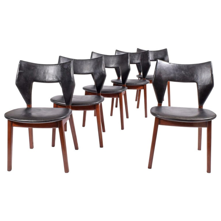Tove & Edvard Kind-Larsen for Thorald Madsen rare set of six dining chairs, 1960, offered by Collage 20th Century Classics