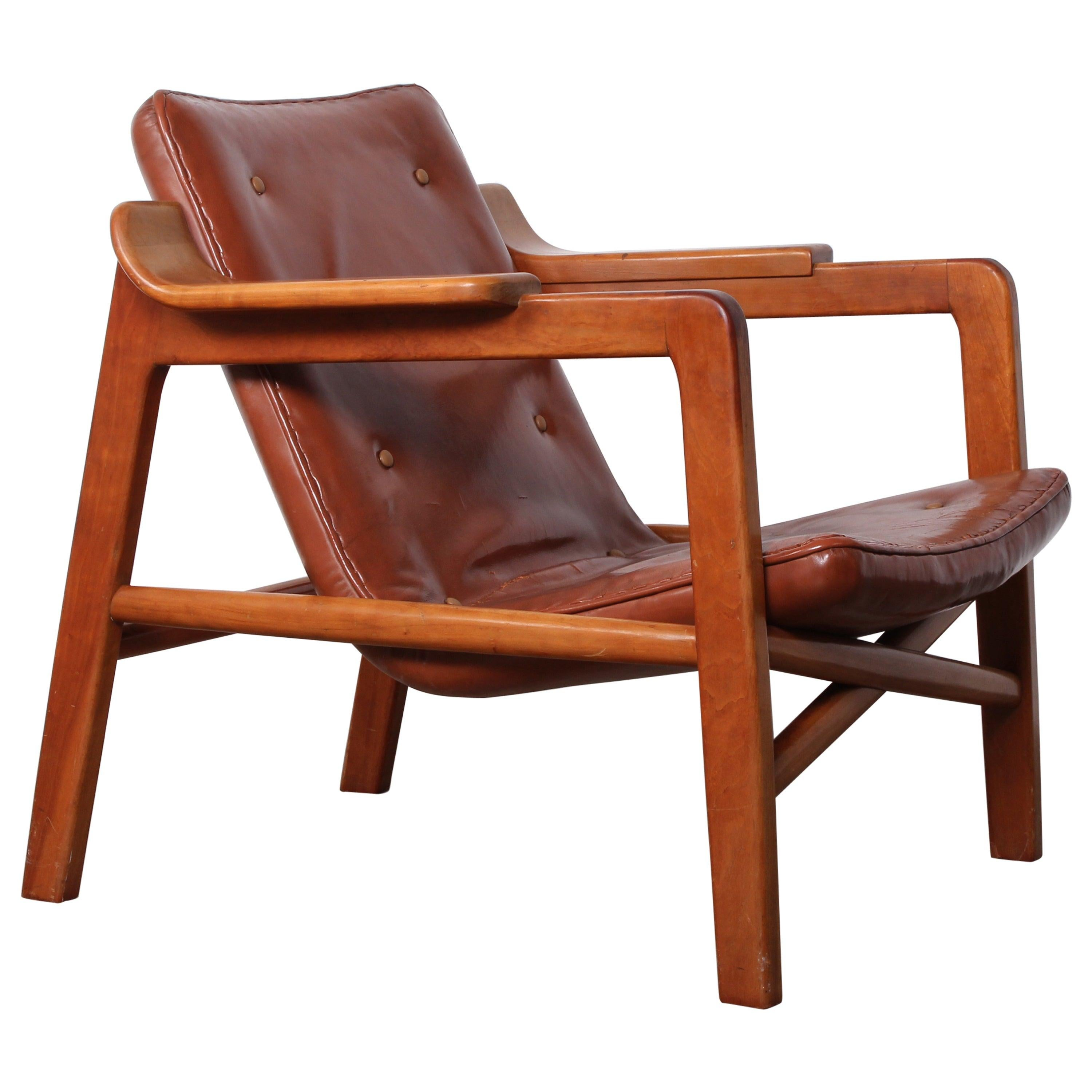 Tove & Edvard Kindt-Larsen 'Fireplace' Lounge Chair in Original Leather
