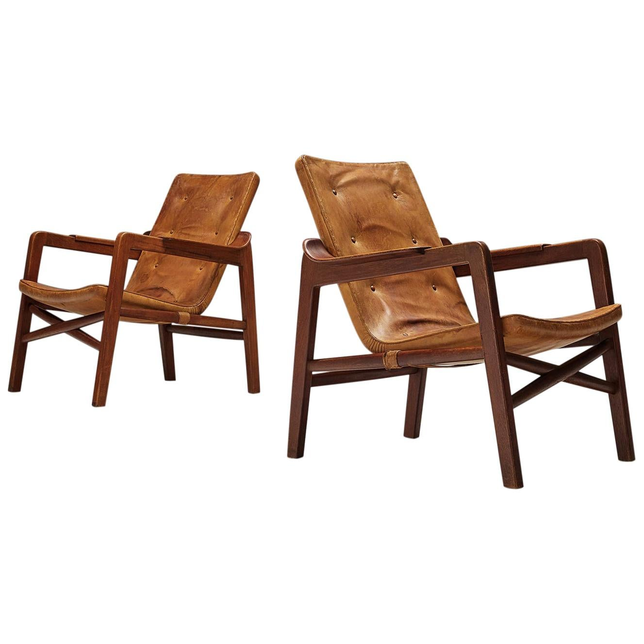"Tove & Edvard Kindt-Larsen ""Fireside"" Armchairs in Original Leather"