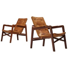 "Tove & Edvard Kindt-Larsen ""Fireside"" Armchairs in Original Leather"