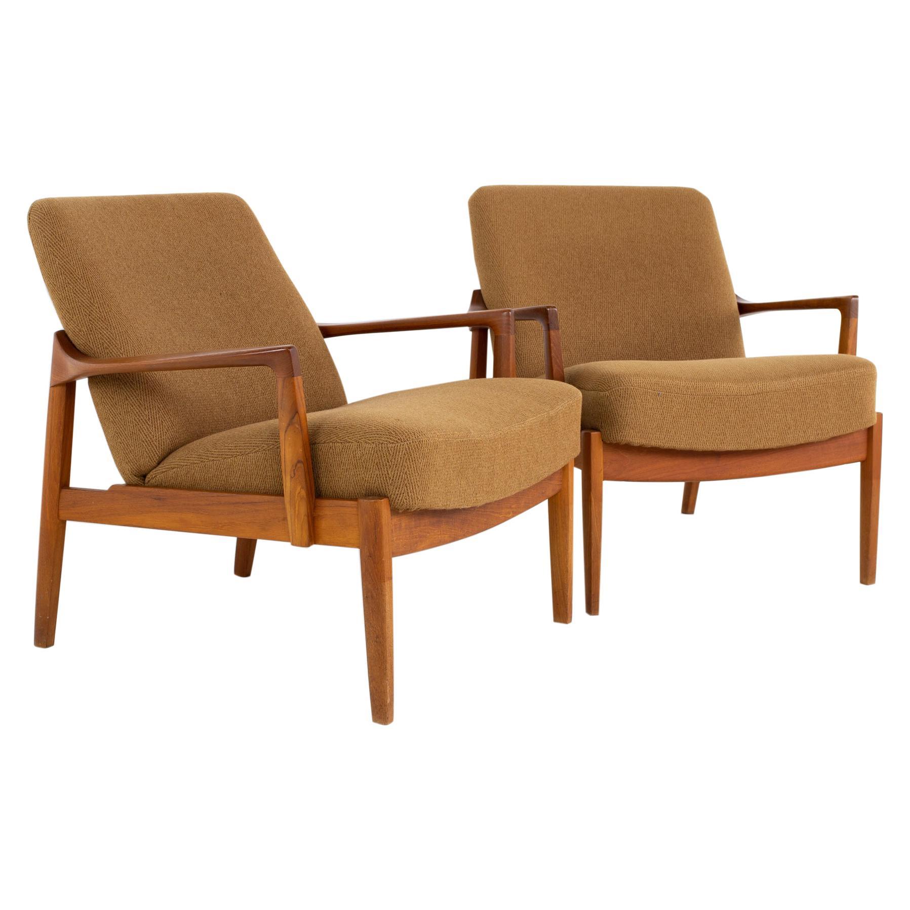 Tove Edvard Kindt-Larsen for John Stuart France MCM Danish Teak Lounge Chairs