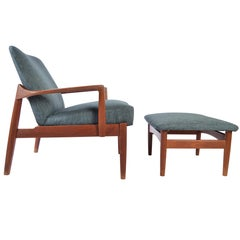 Tove & Edvard Kindt-Larsen Teak Easy Chair with Matching Ottoman