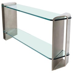 Two Tier Heavy Metal Stainless Steel Base Glass Top Console Table
