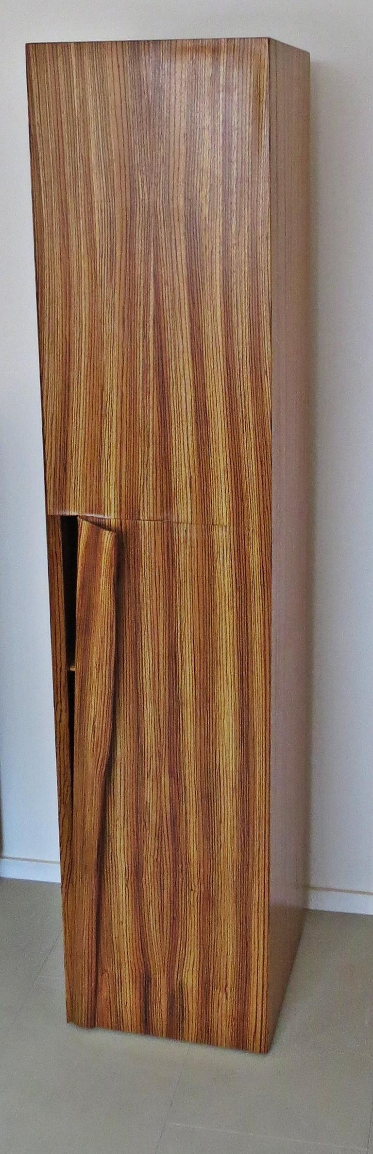 Tower Cabinet, Handmade, Solid Zebra Wood, Made in Germany, High Cabinet For Sale 4