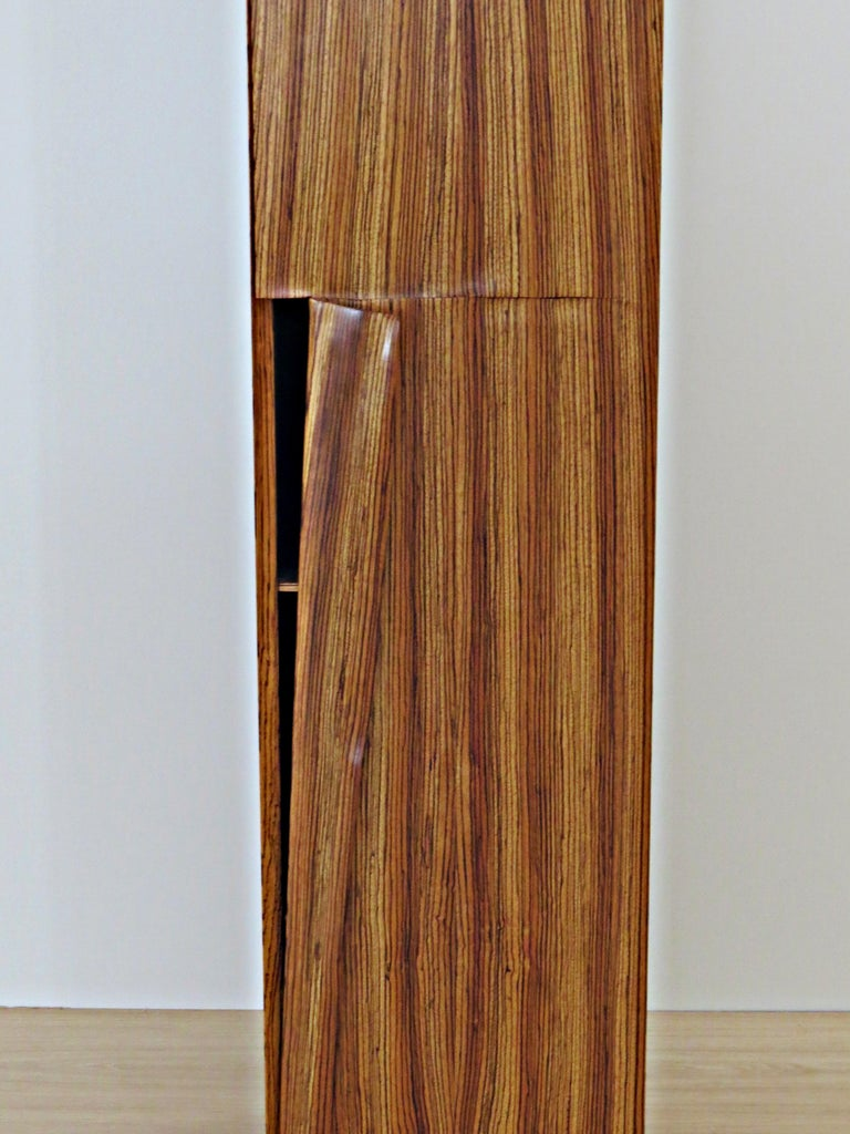 Hand-Crafted Tower Cabinet, Handmade, Solid Zebra Wood, Made in Germany, High Cabinet For Sale