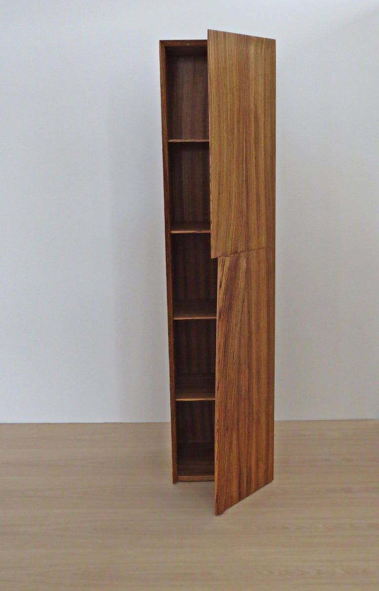 Tower Cabinet, Handmade, Solid Zebra Wood, Made in Germany, High Cabinet For Sale 2