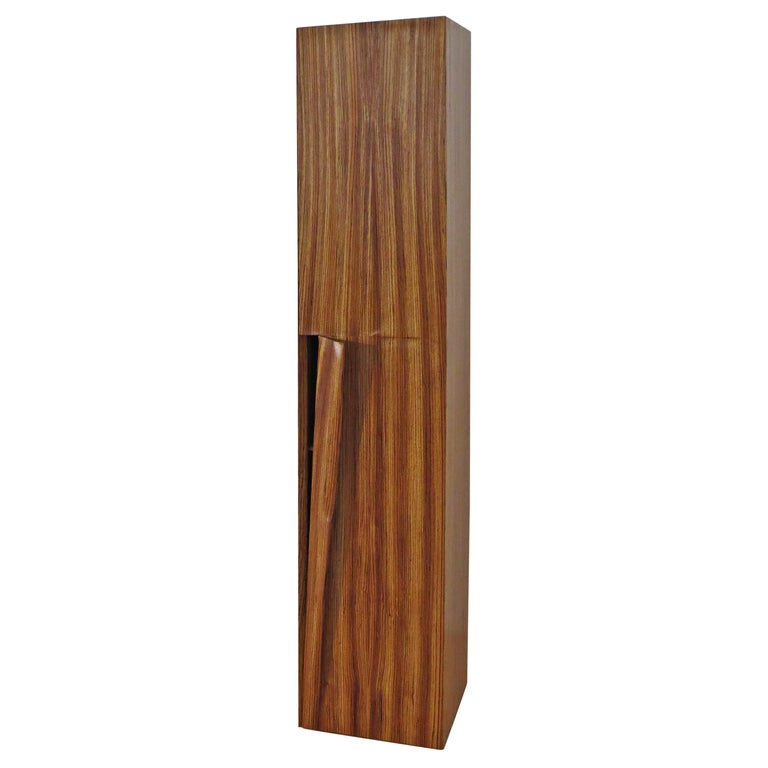 Tower Cabinet, Handmade, Solid Zebra Wood, Made in Germany, High Cabinet For Sale