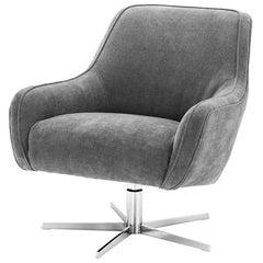 Tower Desk Armchair with Light Grey Velvet