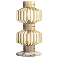 Tower Lamp, Brushed Brass Table Light with Marble Base
