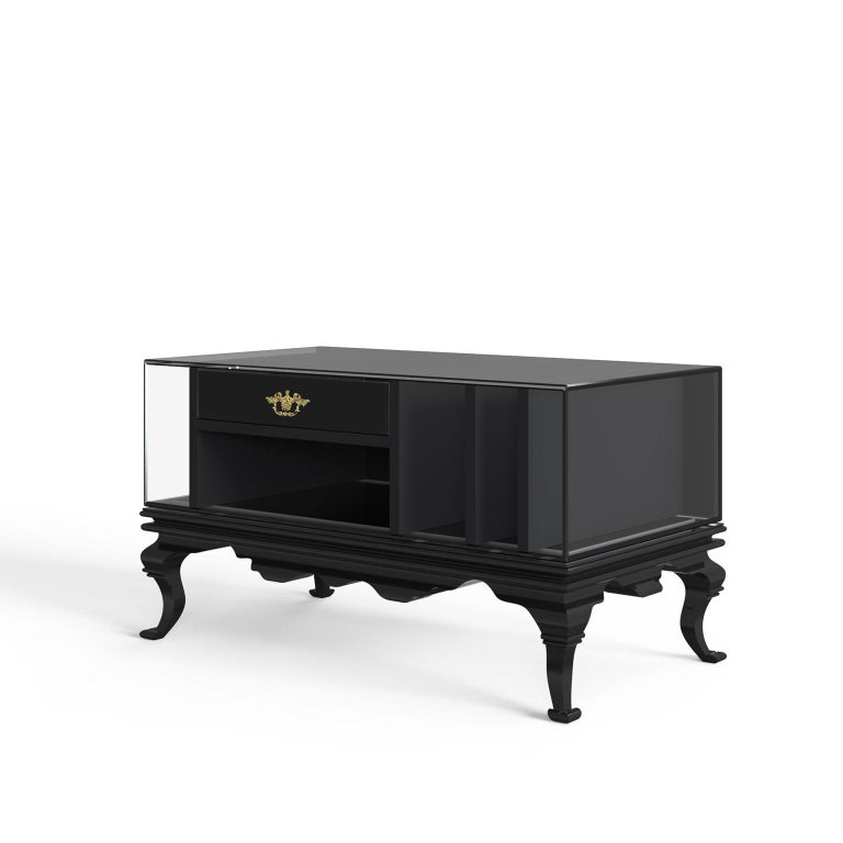 Modern Tower Nightstand in Black Lacquered Wood and Smoked Glass For Sale
