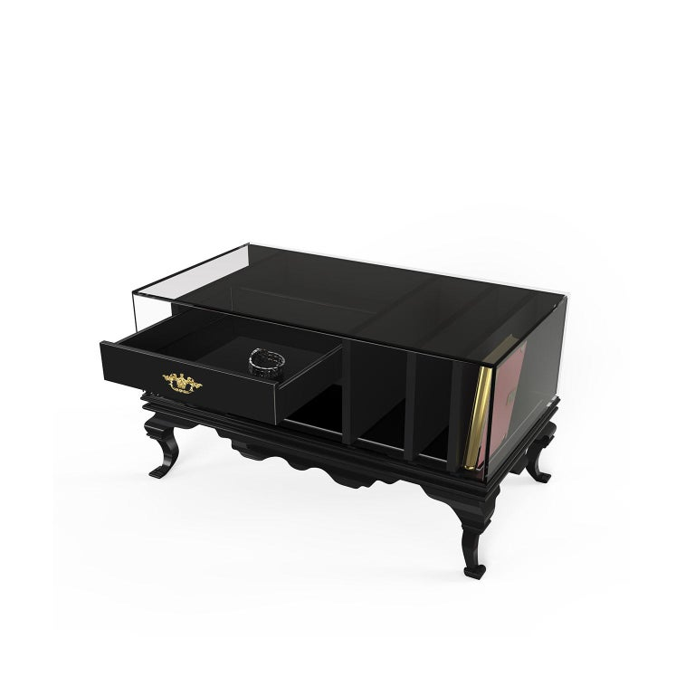 Portuguese Tower Nightstand in Black Lacquered Wood and Smoked Glass For Sale