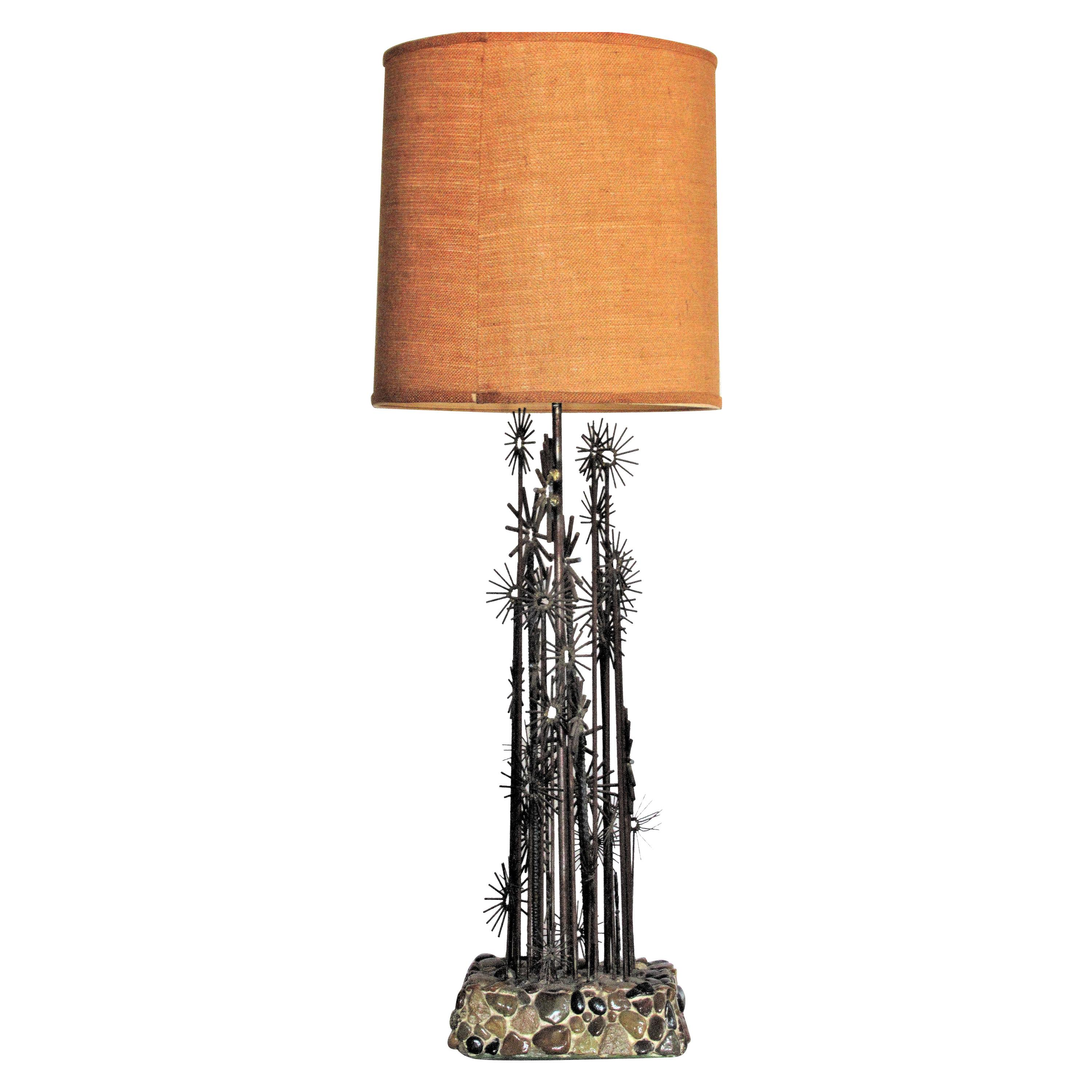 Brutalist Iron Sculpture Lamp in the style of Paul Evans