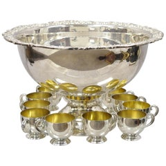 Towle Silver Plated Punch Bowl Set Flower Shell Rim with 12 Cups