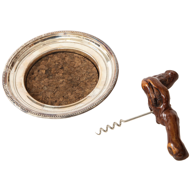 Towle Silver Wine Coaster, Corkscrew