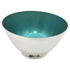 Towle Sterling Silver and Enamel Bowl in Modern Style