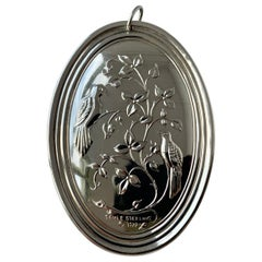 "Towle Sterling Silver Christmas Medallion ""Two Turtle Doves"", 1972"