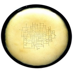 Towle Sterling Silver Etched Yellow and Black Enamel Tazza Plate