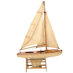 Toy Boat with White Hull and Red Waterline, 1950s