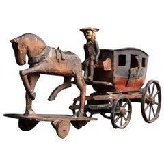 Spielzeugpferd und Wagen, Circa 1850