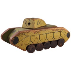 Toy Wooden Tank Made by Italian Soldier from the Second World War