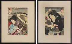 Japanese Figurative Edo Woodblock Set of Two
