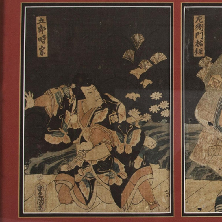 This is an original piece done by Utagawa Toyokuni and illustrates 3 different Kabuki Japanese actors. This piece is framed with a wooden bamboo pattern frame and glass in the front. Print measures 16.50 inches in height and 33.25 inches in width.