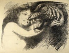 Caresses - Original Lithograph by Théo P. Wagner - 1890