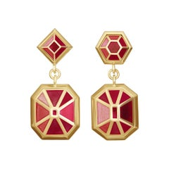 18ct yellow gold and painted enamel 'gemstone' earrings