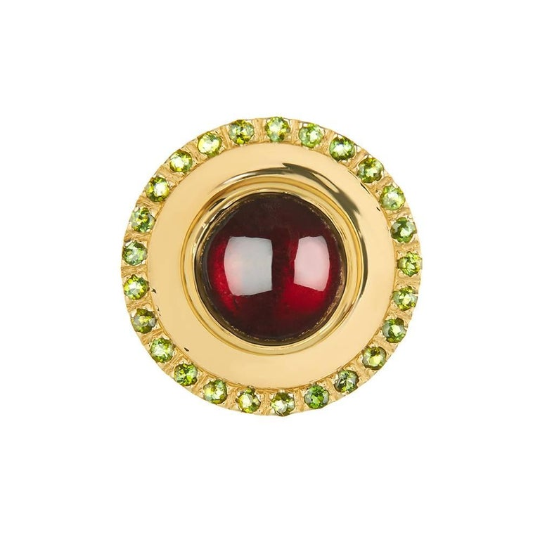 Contemporary TPL Gold Garnet Tourmaline Disc Ring For Sale