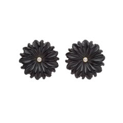 18ct yellow gold, diamond and hand-carved onyx daisy flower earrings