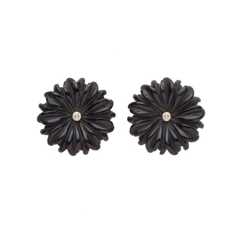 Tpl mini diamond mother of pearl flower earrings white at 1stdibs tpl gold onyx diamond flower earrings mightylinksfo