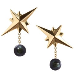 TPL Gold Peacock Pearl Star Earrings