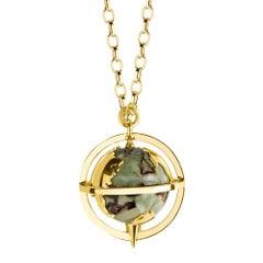 18ct yellow gold, rhyolite and diamond globe pendant