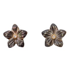 18ct yellow gold vermeil, diamond and mother-of-pearl flower earrings