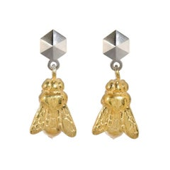 TPL Rhodium Vermeil Bee Earrings