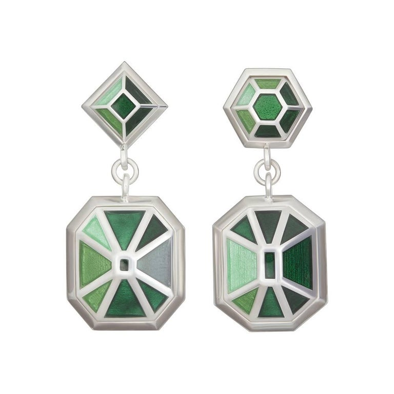 TPL Silver Enamel Drop Earrings