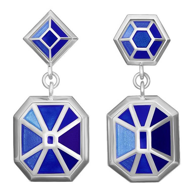 TPL Silver Enamel Gemstone Earrings