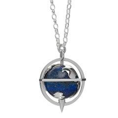 TPL Silver Lapis Diamond Globe Pendant