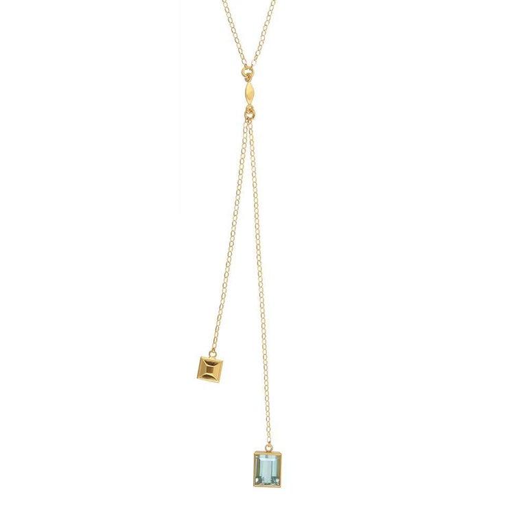 TPL Vermeil Aquamarine Lariat Necklace